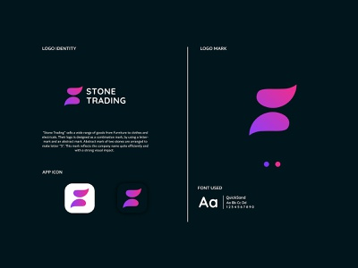 Stone Trading illustrator minimal vector typography icon app branding design illustration logo