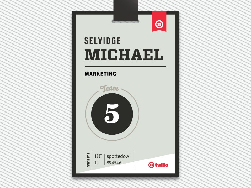 Throwback! Name tag for All Hands 2014 print nametag typography logo twilio allhands