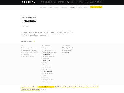 Signal 2017 | Website ux ui schedule filtration website conference developer twilio signal