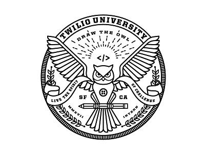 Twilio University (Internship Program) 2017 heraldry code logo shield badge education owl 2016 internship intern university twilio