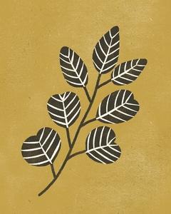 Eucalyptus branch - black & ochre