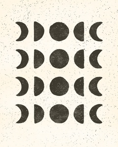 Moon phases - black on cream