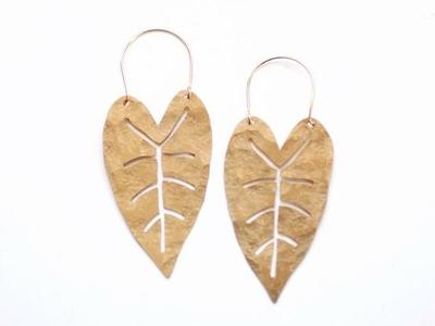 Heart Leaf Brass Earrings