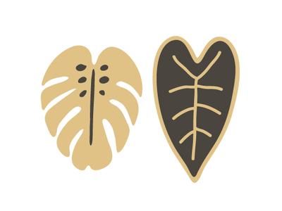 Monstera Leaf + Heart Leaf