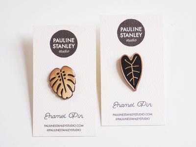 Monstera + Alocasia Leaf Enamel Pins