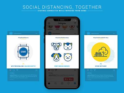 Social Distancing, Together coworker pets visual design parks outside fitness standup instagram stories instagram post instagram covid covid19 social distancing