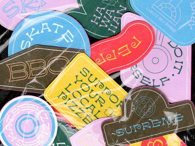 Stickers Skate & Pizza sticker skate illo illustration bbq design pizza stickers