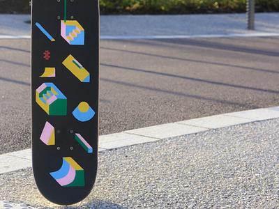 Griptape posca motif minimalism skateboard painting street art skate illo illustration geometric handmade