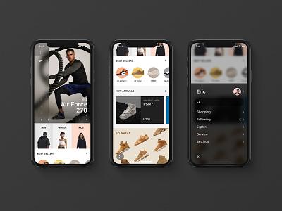 Sneaker Homepage menu aj airjordan flat iphone x app yeezy adidas ui sneaker nike