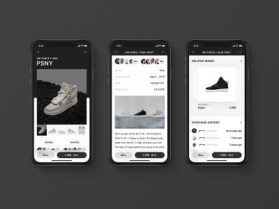 Sneaker Detailpage shoes icon design yeezy ui sneaker nike iphone x flat app aj airjordan adidas