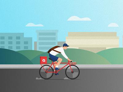 Post bicycle illustration red bike boy post 2d