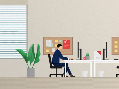 Approval sitting pc table plant approval boy work flat 2d illustration