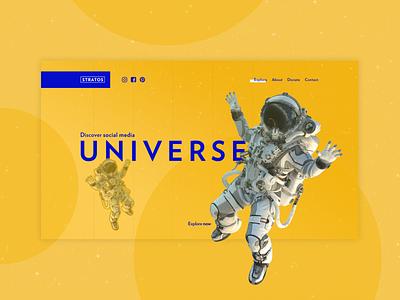 Stratos Universe header homepage design website design