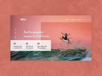 Let's surf waves in California waves surf website header homepage design