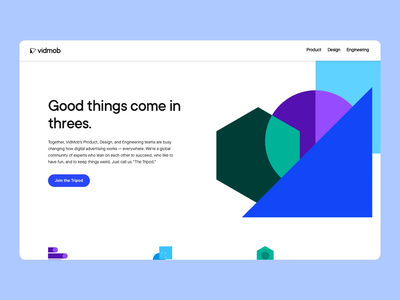 VidMob's Tripod Recruitment Site flat ui vector icon web engineering design product hiring recruitment animation illustration branding web design