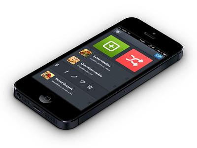Nom - Cooking App ui ux app button clean cooking dark design food interface ios iphone mobile recipe