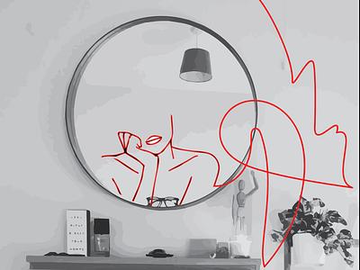 Self-Illusions self portrait trick mirror women figure graphicdesign self illusion