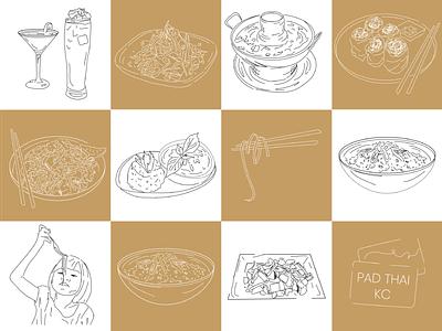Custom Menu Illustrations for Pad Thai KC food industry food app thai thai food illustration restaurant