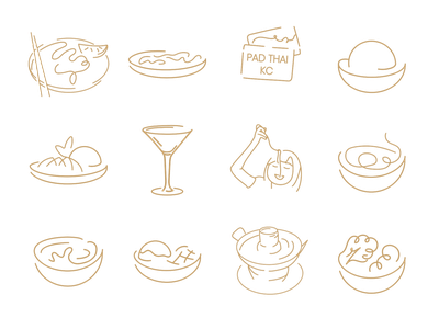 Custom Icons for Pad Thai KC Mobile App restaurant ui icons mobile app icon set