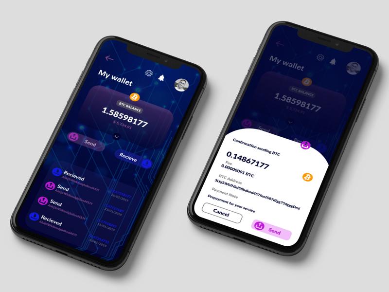 cryptocurrency wallet branding typography design app ux ui