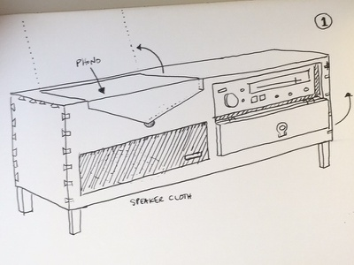 ConsoleFest pencil paper ink pen perspective diagram freehand wood cabinet console furniture sketch