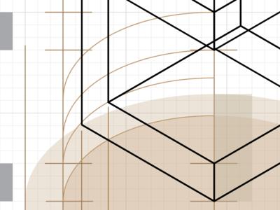 ISO MILK FAT technical white grey black tan beige line foreshortening projection vector illustrator isometric