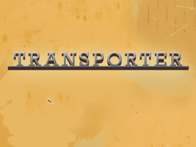 Transporter badge aluminium aluminum metal automotive vw volkswagen rebound rockwell