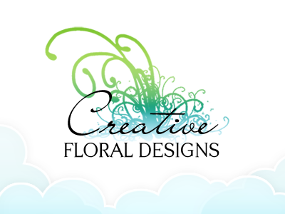 Creative Floral Design clouds gradient turquoise logo swirl flourish floral