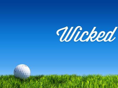 Brand teaser golf ball green blue sky grass brand logo golf script