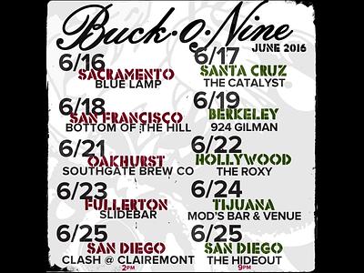 Buck-O-Nine June 2016 Flyer california music ska buck-o-nine