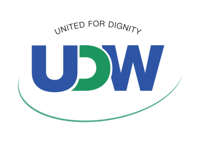 UDW Curve - Logo Concept for United Domestic Workers of America curve green blue trade union advocacy design logo
