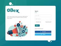 Login Screen for Dex (A social platform)