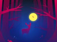Deer in the deep woods
