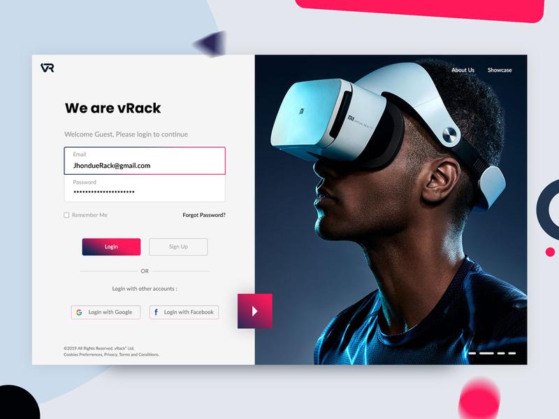 VR Login Screen Web App Design