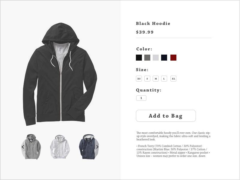 Daily Ui: Day 12 - E-Commerce Shop (Single Item) online shopping apparel hoodies single item 012 ui e-commerce shop shop e-commerce dailyui