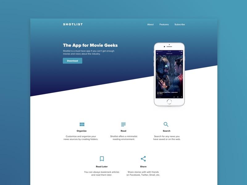 Movie news app concept. landing page app movies