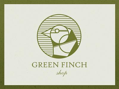 Green Finch Shop lines shop bird logo