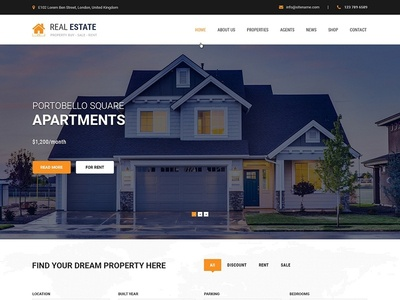 Real Estate WordPress Theme by SKT Themes on Dribbble