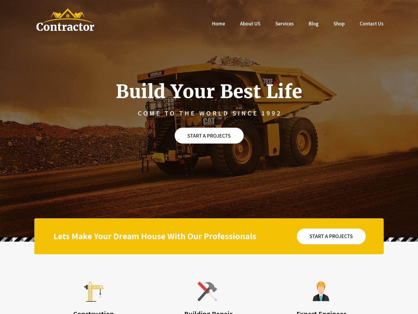 construction website template by SKT Themes on Dribbble