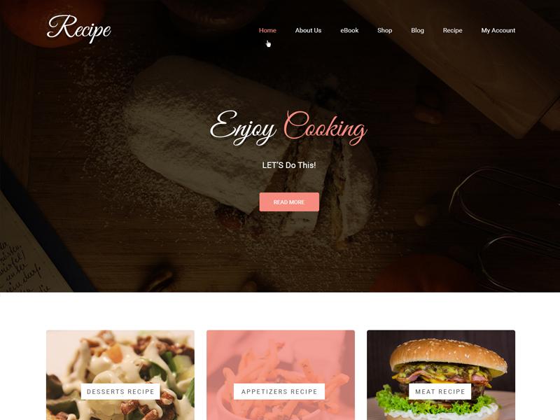 Delicious Cooking Recipe Web Template ux web design wordpress theme wordpress template wordpress development wordpress design website builder theme design