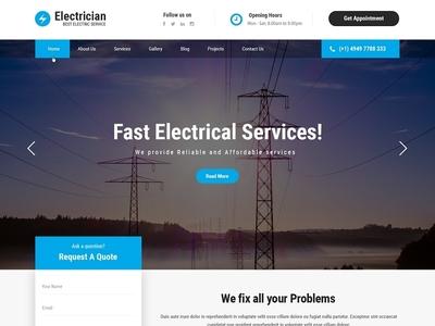 Best Electrician WordPress Theme of 2019 web design wordpress theme wordpress template wordpress development wordpress design website builder theme design