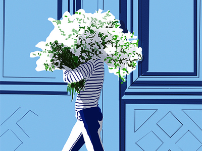 Femme Fleur dosol streetstyle dorasolna flowers woman portrait monochrome springtime print blue photoshop drawing illustration