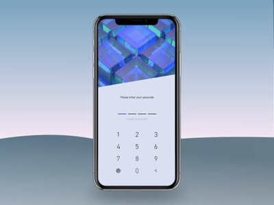 🟦 Mobile Banking App Lock Screen Concept ux ui mobile security banking blue glossy cubes passcode motion micro interaction microinteraction animation 3d