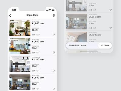 🔎 Apartment Finder App Concept mobile ux ux app list view filters mobile ui mobile app mobile bottom bar bottom nav bottom navigation navigation bar search bar search mobile search apartment real estate