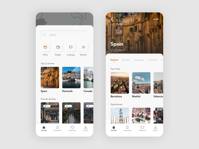 ✈️ Long Term Travel App ui design ui ux travel app traveling nomad cities orange grey white clean neumorphism travel app mobile minimal ui adobe xd
