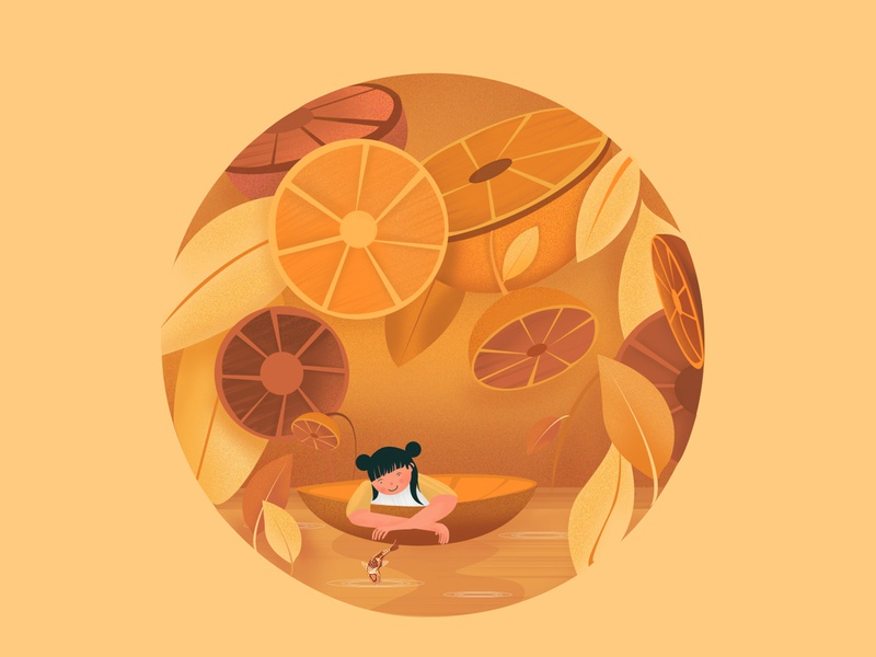 An Orange Boat fruit boat orangeillustration orange dribble shot dribbleartist dribble @illustration vector illustration design branding adobe photoshop adobe