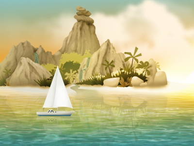 Sunset Island Illustration