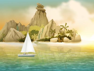 Sunset Island Illustration yootheme illustration island theme themes