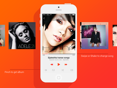 Music player for iOS 7 ios 7 music player cool design orange music album mucis app repeat music icons player glossy play