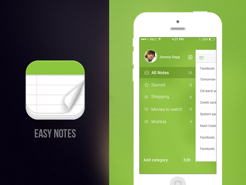 Easy Notes - iOS App icon design notes easy notes green flat innorriors ios app app design creative free app new app new